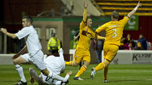 Steven Hammell thought he'd levelled for Motherwell but his header was not ruled a goal - despite replays showing it had clearly crossed the line.