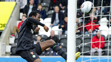 Defender Efe Ambrose celebrated with an acrobatic display after scoring his first goal for the club.
