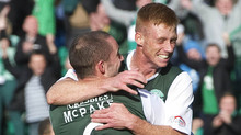 Eoin Doyle continued his red hot form for Hibs by netting the opener against Dundee.
