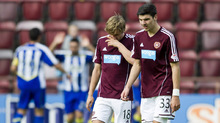 Hearts were diconsolate as Sheridan beat the offside to double the advantage