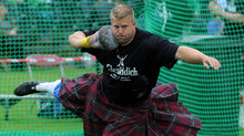Shot Put competitors at Braemar Gathering