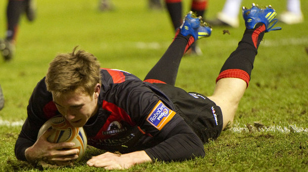 Dougie Fife goes over for the Edinburgh try but the hosts were beaten by Ospreys