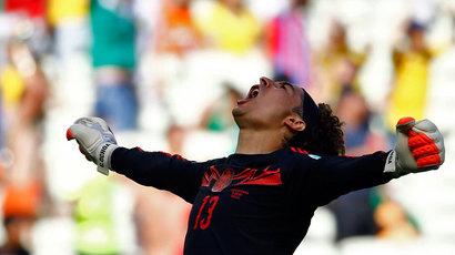 Mexico's goalkeeper Guillermo Ochoa celebrates