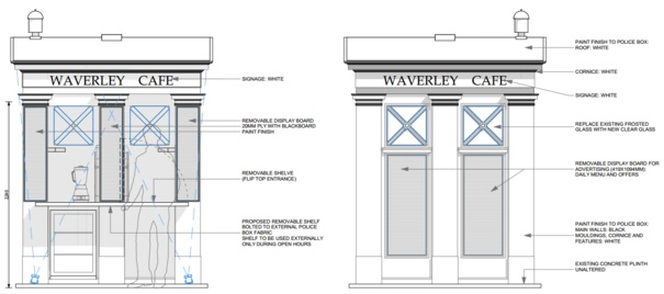 police box on market street plans submitted for waverley cafe stv edinburgh edinburgh. Black Bedroom Furniture Sets. Home Design Ideas