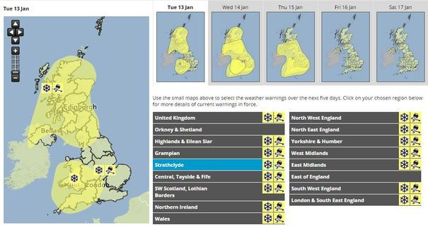 met office issue warning for snow and ice