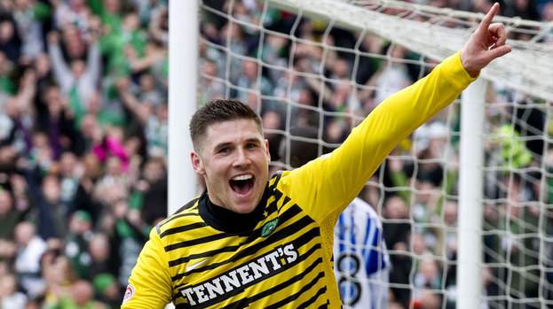 Gary Hooper celebrates his first goal against Kilmarnock on Saturday