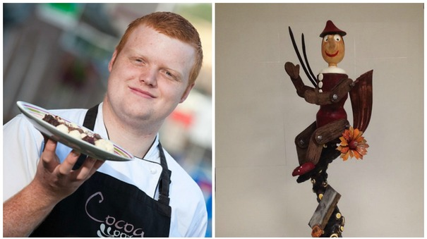 It's chocs away for Jamie as he creates Pinocchio