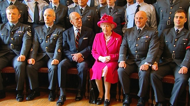 Queen Elizabeth was accompanied by the Duke of Edinburgh on a visit to the headquarters of the Royal Auxiliary Air Force's (RAuxAF) 603 Squadron.