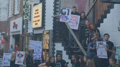 Ashton Lane protesters slam G1 Group for failing to pay 2900 staff minimum wage, credit Cat Boyd