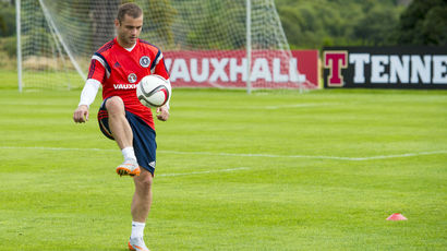 Scotland's Shaun Maloney gets on the ball in training
