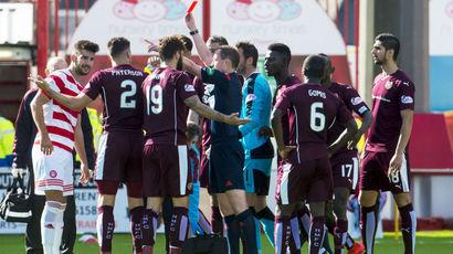 Callum Paterson sent off red card v Hamilton 28 August 2015