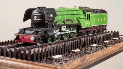 The Flying Scotsman made from chocolate by Cocoa Black to celebrate opening of Borders Railway