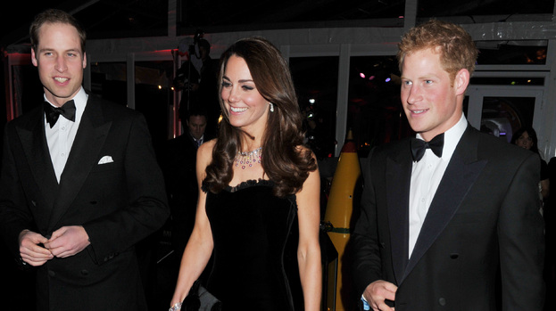 Flying the flag: Kate, Wills and Harry will watch Olympic Torch