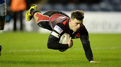 Edinburgh's Matt Scott scores his side's fourth try of the game