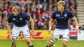Jonny Gray and David Denton in action for Scotland.