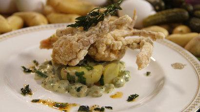 Crispy Capitol Hill crab, warm potato artichoke salad and tartare sauce