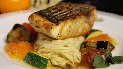 Seared rockfish with homemade noodles and tomato vinaigrette