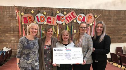Picture shows (L-R): Catriona Milligan, Roz Adams and Tricia McConologue from Bridging the Gap with Dawn Gatensby and Malgorzata Lagiewka from BaxterStorey.