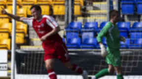 Andy Barrowman celebrates opening the scoring for County in their Challenge Cup final victory.