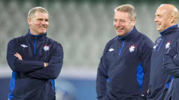 New Rangers boss Ally McCoist (centre) will work with the Skogsrud twins when they arrive at Murray Park in July.