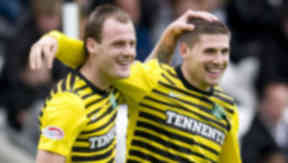 Gary Hooper (right) and Anthony Stokes combined to see off St Mirren in the SPL on Sunday.