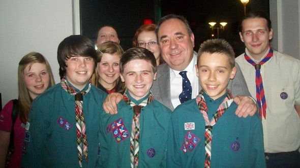 Picture: Helping hand: 6th East Kilbride Scouts with First Minister Alex Salmond.