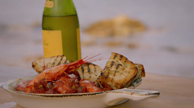 Gino's Italian Coastal Escape - Calabrian-style king prawns in a spicy tomato sauce